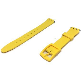 Swatch style résine montre bracelet jaune avec boucle en plastique jaune 12mm et 17mm