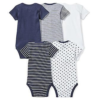 Moon and Back Baby Set of 5 Organic Short-Sleeve Bodysuits, Navy Sea, Preemie