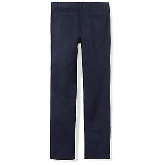 Essentials Big Girls' Flat Front Uniform Chino Pant, Navy,10
