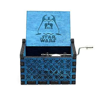 Star Wars Collectible Vintage Engraved Wooden Hand Crank Blue Music Box