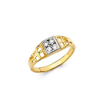 14k Yellow Gold Boys and Girls CZ Cubic Zirconia Simulated Diamond Ring Taille 3 - 1.1 Grammes
