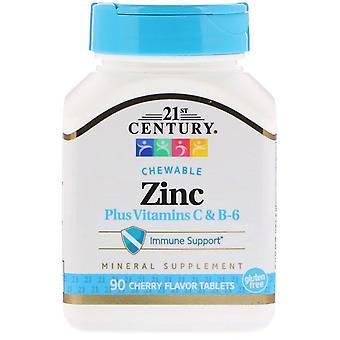 21st Century, Zinc Plus Vitamines C & B-6, Saveur de cerise, 90 comprimés à mâcher