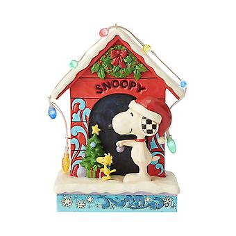 Jim Shore Peanuts Snoopy By Dog House With Lights Beeld Beeldje
