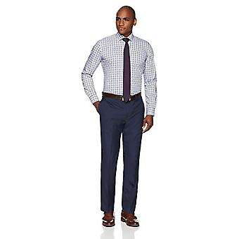 """BUTTONED DOWN Men's Slim Fit Spread Collar Pattern Non-Iron Dress Shirt, Blue/Brown Plaid, 15"""" Neck 35"""" Sleeve"""