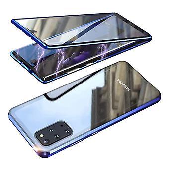 Material Certificado® Samsung Galaxy S20 Plus Magnetic 360 ° Case com Vidro Temperado - Caixa de Tampa do Corpo Completo + Protetor de Tela Azul