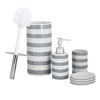 Ensemble d'accessoires de salle de bains 4 pièces - Distributeur de savon, Plat, Porte brosse à dents, brosse à toilette - Bande grise