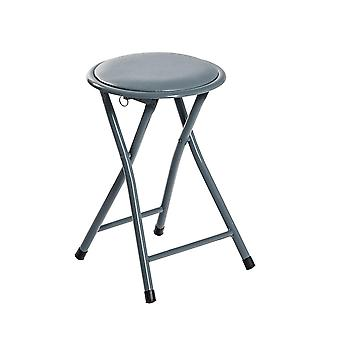 Round Folding Padded Stool. Office Kitchen Breakfast Stools Metal Frame Grey