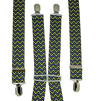 Krawatten Planet Royal Blau, hellblau & gelb Zig Zag gemusterte Männer's Hosenträger