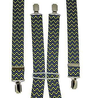 Ties Planet Royal Blue, Blu chiaro e Giallo zig zog Patterned Men's Trouser Braces