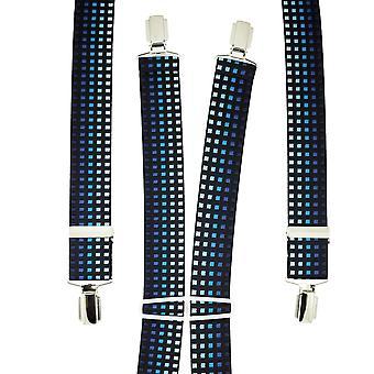 Krawatten Planet dunkle Marine mit Schattierungen von blauen Quadrat gemusterte Männer's Hosenträger