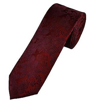 Krawatten Planet Gold Label Burgund selbst Blume gemusterte Männer's Seide dünne Krawatte