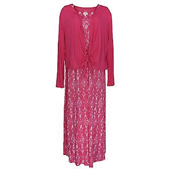 Aria Dress Soft Touch Jersey Maxi With Tie Front Cardigan Pink 637-139