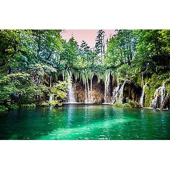 Muur muurschildering watervallen in Plitvice Lake