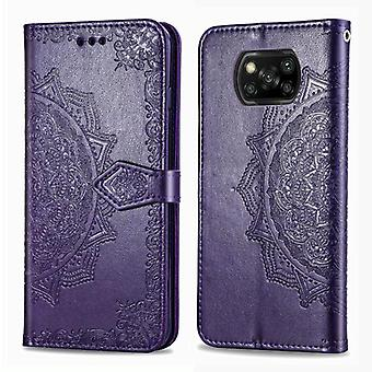 For Xiaomi Poco X3 NFC Mandala Flower Embossed Horizontal Flip Leather Case with Bracket / Card Slot / Wallet / Lanyard(Purple)