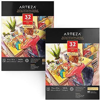 """Arteza 9""""x12"""" tampon aquarelle, 2 pack, 64 feuilles, 140lb/300gsm, colle liée, 32 feuilles chacune, pres froid"""