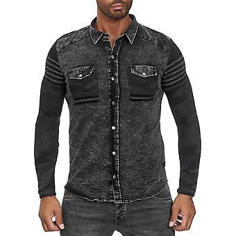 Chemise homme Jeans Look Fabric Mix Longsleeve Mottled Transition Jacket Biker Polo
