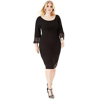 Plus size black tulip midi dress