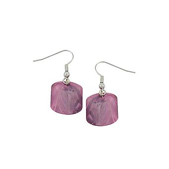 Hook Earrings Slanted Bead Pink Marbled
