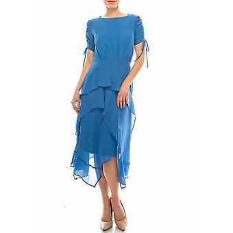 Crepe Chiffon Midi Rüschen Kleid