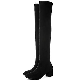 Fashion Lår høje støvler vinter over knæsko Sexy høje hæle