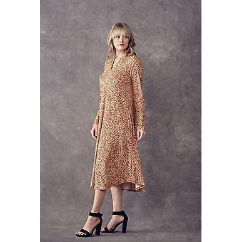 Print A-Linie Kleid mit V-Ausschnitt lange Ärmel
