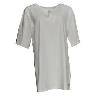 Denim & Co. Women's Top Short Sleeve V Neck White A365292