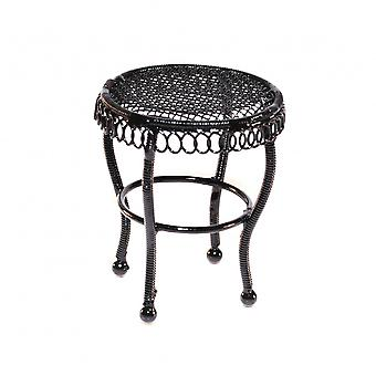 Dolls House Black Wire Wrought Iron Garden Side Table Miniature Patio Furniture