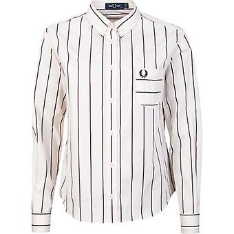 Fred Perry Authentics Grandad Collar Striped Shirt