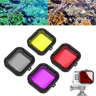 Asiv (red + yellow + grey + purple filter underwater lens color filter for gopro hero 3 + 4 waterp