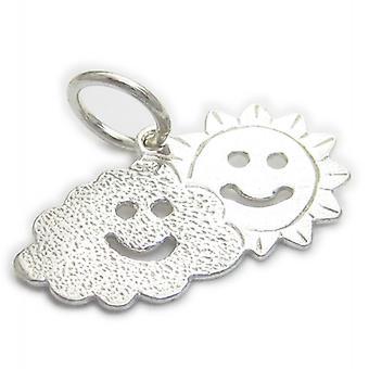 Zon appen over een wolk sterling zilveren charme .925 X 1 weer charms - 4748