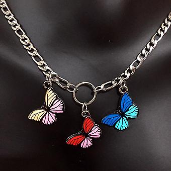 Cute Butterfly Choker Necklace Style Stainless Steel Punk Hip Hop Gothic