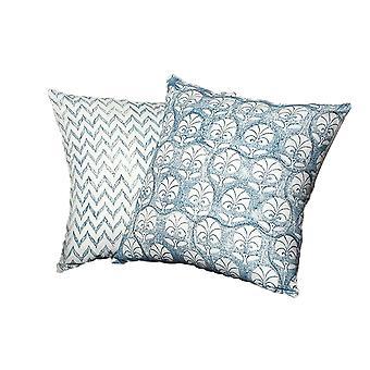 Oreiller en coton 18 x 18 avec motif feuille et chevron design, ensemble de 2, bleu et blanc