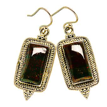 "Bloodstone Earrings 1 3/4"" (925 Sterling Silver)  - Handmade Boho Vintage Jewelry EARR411052"