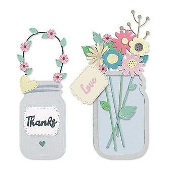Sizzix Thinlits Die Set - 17pk Jar Of Flowers (Works With 664857) 665079 Lisa Jones