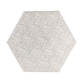 """8"""" (203mm) Cake Board Hexagonal Silver Fern - single"""