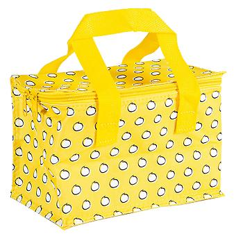 Insulated Lunch Bag Patterned Foil Lined Picnic Sandwich Box Mustard Polka