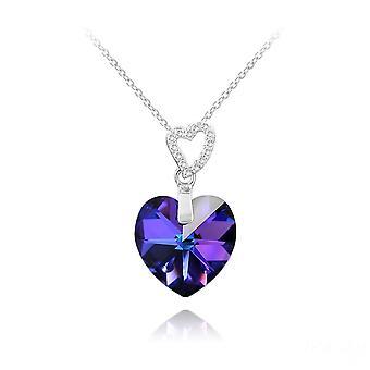 Kaksinkertainen sydän hopea ja sininen swarovski kristalli riipus kaulakoru