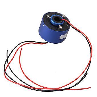 54mm OD 12.7mm Through Hole Capsule Slip Ring 2 Circuits 380V10A Blue