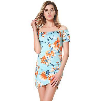 Ženy kvetinové z ramena mini šaty lomka krk ruched krátke rukávy späť zips