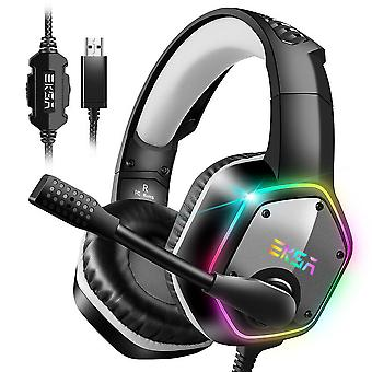 EKSA USB Gaming Headset, 7.1 Surround Sound Gaming Headset, PS4 Headset, PC Gaming Headset met Noise Canceling Mic en RGB Light, PC Compatible, Playstation 4-Gray