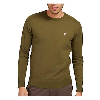 GUESS Guess Mens Crew Kneck Maglieria Rayner Olive