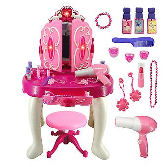 1 Set Novelty Makeup Table Toys Colorful Dressing Table Simulation Beauty Makeup Toys Role Play Toys With Light And Music For Children Girls Home With