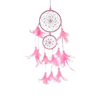 Pink Girl's Dream Catcher Pendant Car Rear Ornaments Bedroom Feather Beads Dreamcatcher Wall Hanging Decor
