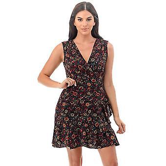 Women's Sleeveless Black Floral Sundress Tops