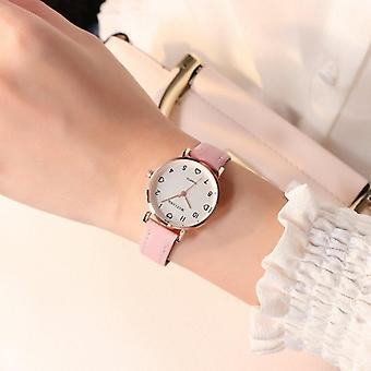 Simple Vintage Small Dial Sweet Leather Strap Wrist Watch