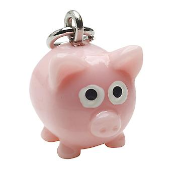 Jewelry Charm, 3-D Hand Painted Resin Pig 16mm, 1 Piece, Pink