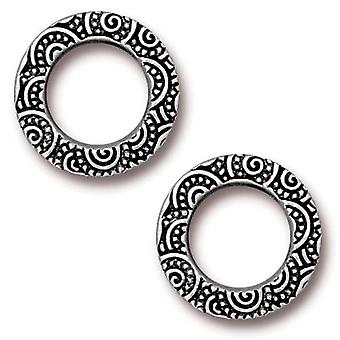 TierraCast Antiqued Silver Plated 16mm Spiral Ring Connector Link (2)