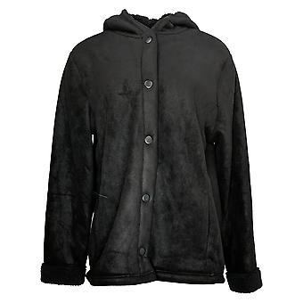 Cuddl Duds kvinner's Fleecewear Bonded Sherpa Snap Front Jacket Svart A381706
