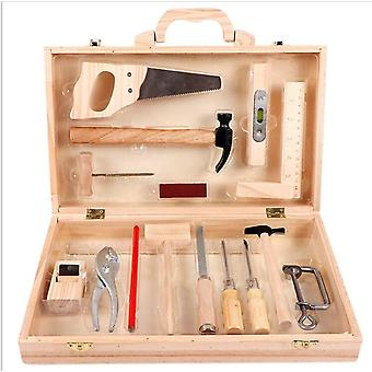 Dziecko gra logiczna konserwacja naprawa przybornik drewniane narzędzia stolarskie Play House Toy Set dla dzieci