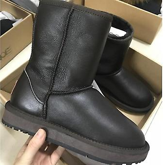 Classic Men Mid-calf Leather Wool Fur Winter Boots - 25 Metal Chocolate